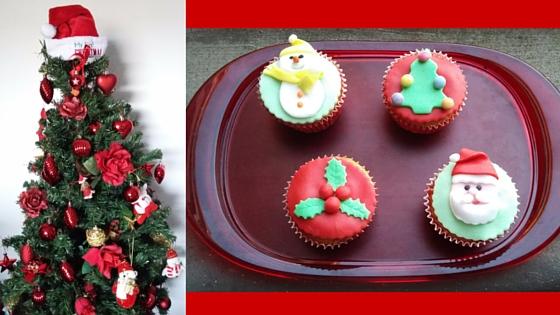 cupcake alle nocciole con decorazione natalizia