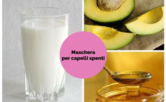 ingredienti per la maschera per capelli spenti e disidratati