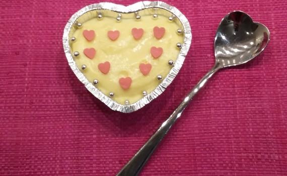 semifreddo al cioccolato bianco in monoporzione a forma di cuore