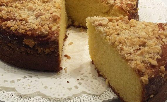 torta alla ricotta con crumble alle mandorle fetta